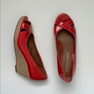 Franco Sarto red patent wedges